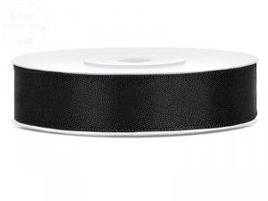 Tasiemka satynowa czarna 12 mm x 25m