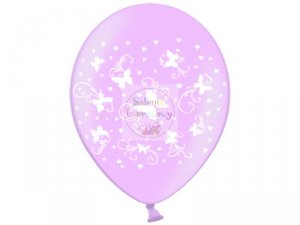 Balony metalik różowe w białe motylki 1szt