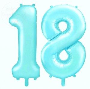 Balon foliowy cyfra 18 jasny niebieski 86 cm
