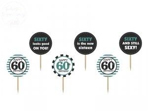 Karteczki na 60-te urodziny 9,2 cm - 6szt
