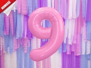 Balon foliowy cyfra 9 różowa - 86 cm