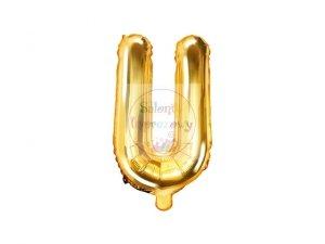 Balon foliowy Litera U 35 cm złoty