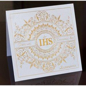 Zaproszenie Komunijne ZŁOTY IHS - perłowe 1 szt