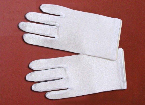 Rękawiczki komunijne  lycra połysk długość - 18cm
