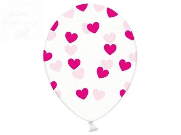 Balony 30 cm przezroczyste w rózowe serduszka