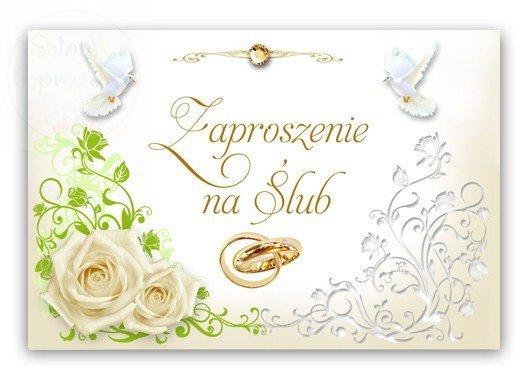 Zaproszenie ślubne z gołąbkami i z różą