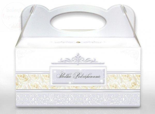 Pudełko na ciasto weselne srebrne z obrączkami