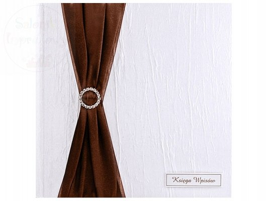 Księga gości weselnych biała z brązową wstążką