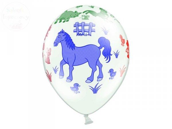 """Balony 14 cali białe pastelowe """"Farma"""" 1szt"""