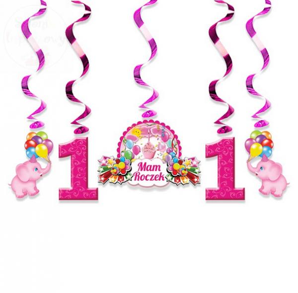 Świderki urodzinowe różowe na roczek 1 kpl