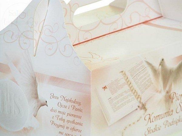 Pudełko na ciasto Komunijne z różową kokardą PK05