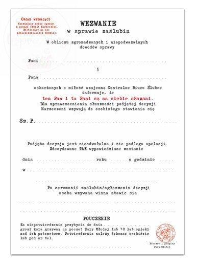 Zaproszenie wezwanie CBŚ na ślub - 1szt