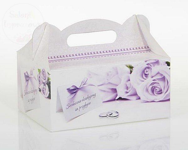 Pudełko na ciasto weselne w fioletowe róże CS03