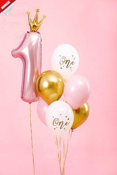 """Balony białe ze złotym napisem """"One"""""""