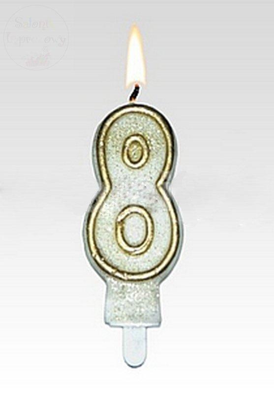 Świeczka urodzinowa cyferka 8 złota+brokat