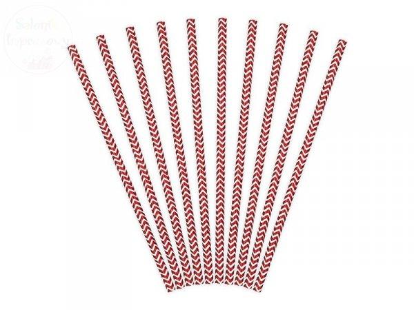 Słomki papierowe czerwone wzorek  10 szt