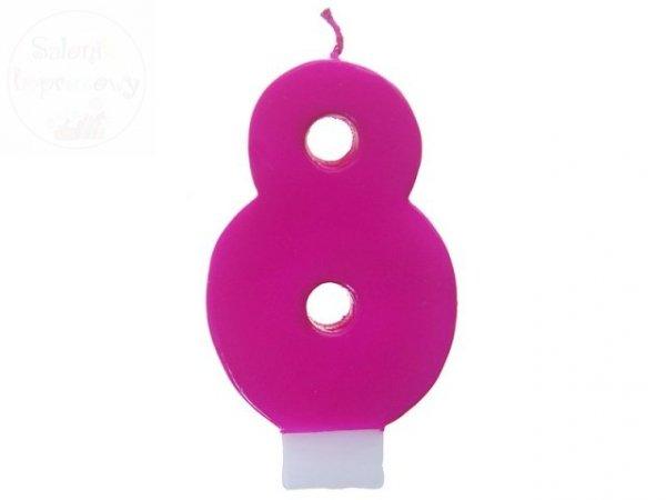 """Świeczka na tort cyferka """"8"""" różowa"""