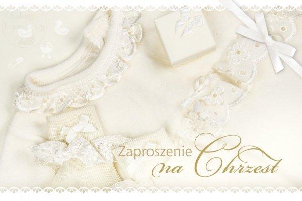 Zaproszenie na Chrzest Święty kremowo-białe -1szt