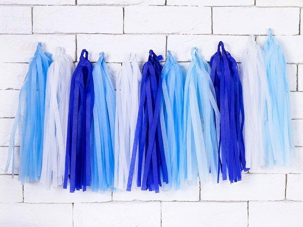 Girlanda frędzle błękitny mix