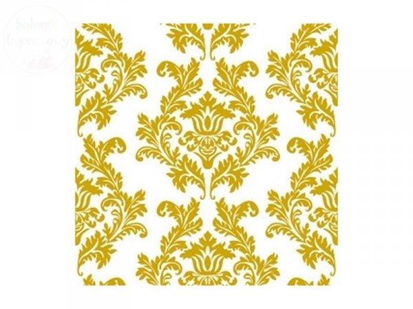 Serwetki 3 warstwowe Damask Białe + złoto 20szt