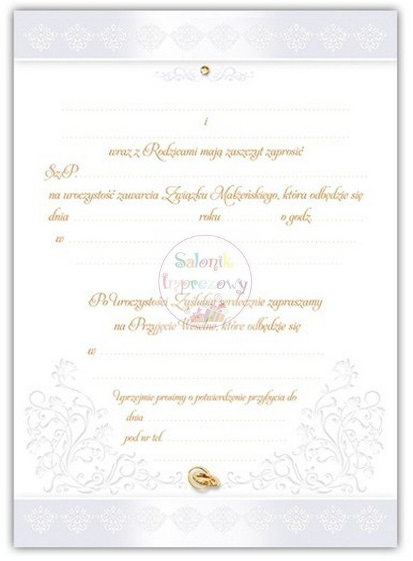 Zaproszenie ślubne śmieszne - 1szt