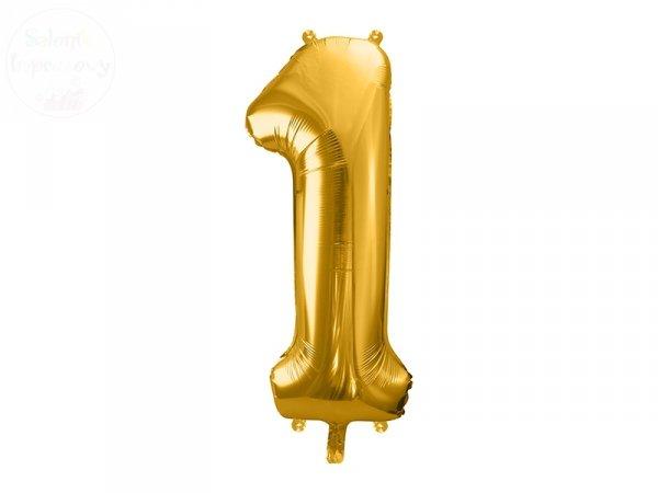 Balon foliowy cyfra 1 złota  86 cm