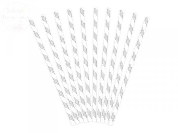 Słomki papierowe srebrne w paseczki 10 szt