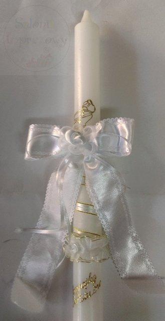 Kokarda atłasowa do świecy z białymi dodatkami