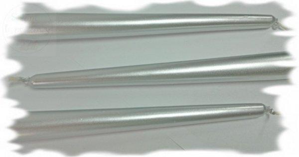 Świece stołowe srebrne metaliczne SKMET-018