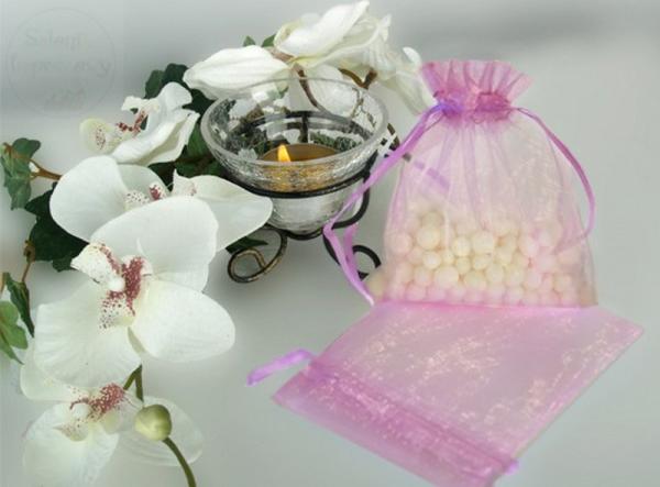 Woreczek z organzy liliowy 9,5 x 12,5 cm