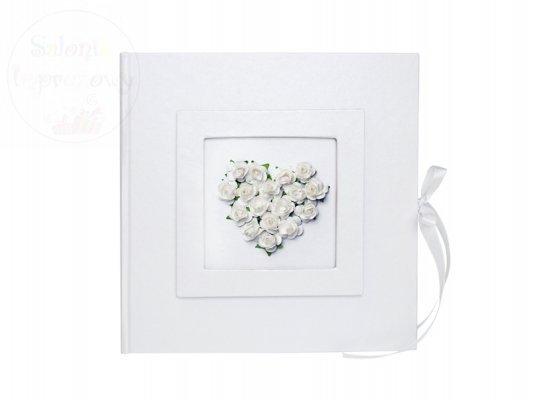 Księga gości weslenych z białym sercem KWA26-008