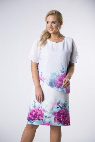 trapezowa sukienka z tiulową narzutką