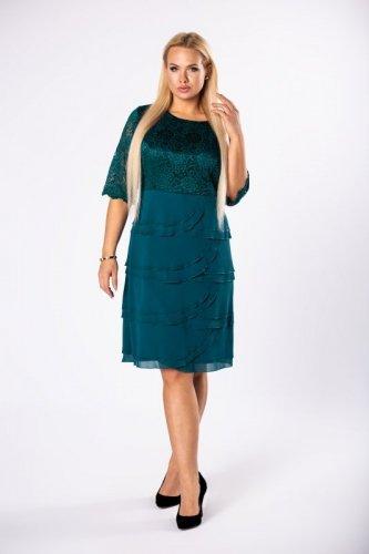 sukienka z koronkową górą i szyfonowymi falbankami