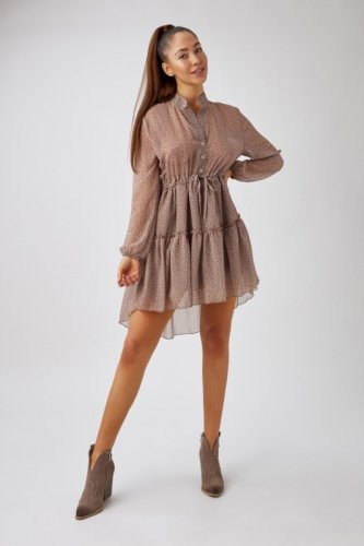 szyfonowa sukienka szmizjerka z falbankami