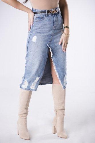 jeansowa spódnica midi z przetarciami