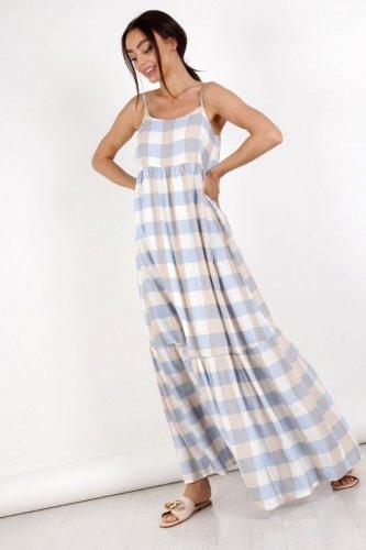 sukienka maxi w pastelową kratę
