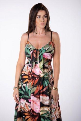 rozkloszowana sukienka maxi z wiązaniem
