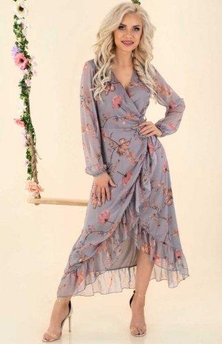 Sukienka letnia szara w kwiatki Bethiela