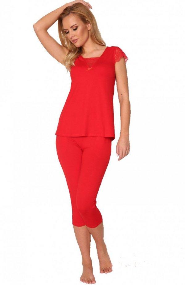 piżama damska de lafense wiskozafanny 341 czerwona