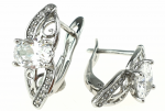 EARRINGS SILVER Zirconia GOLD PLATED WHITE GOLD