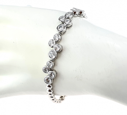 SILVER BRACELET PLATED WITH WHITE GOLD ZIRCONIA