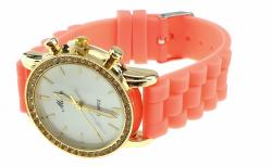 0110 Damski zegarek złoty gumowy