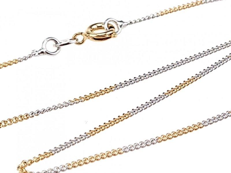 0149 Złoty srebrny łańcuszek 45cm pozłacany 18k