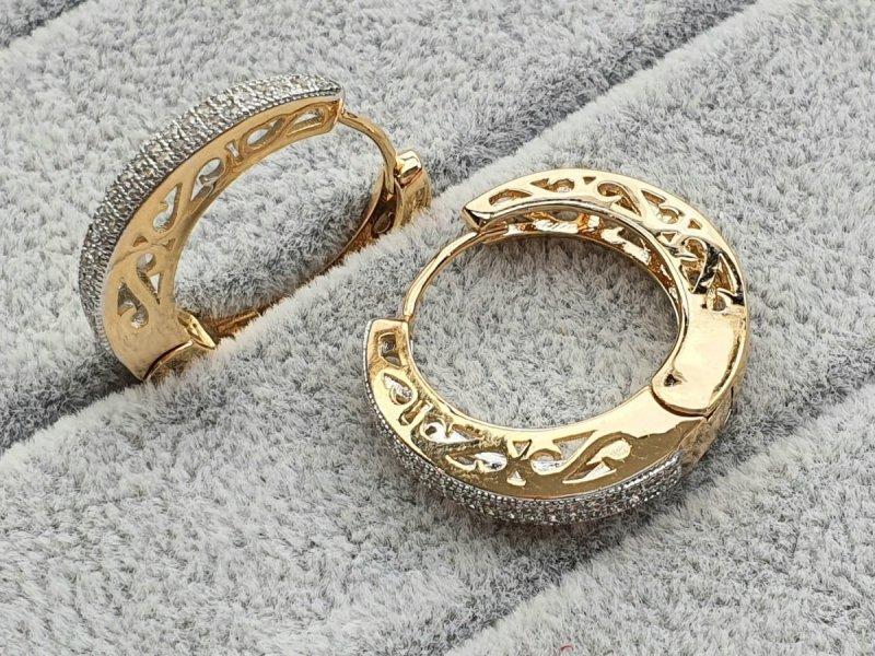2547 Ekskluzywne kolczyki złote cyrkonia pozłacane