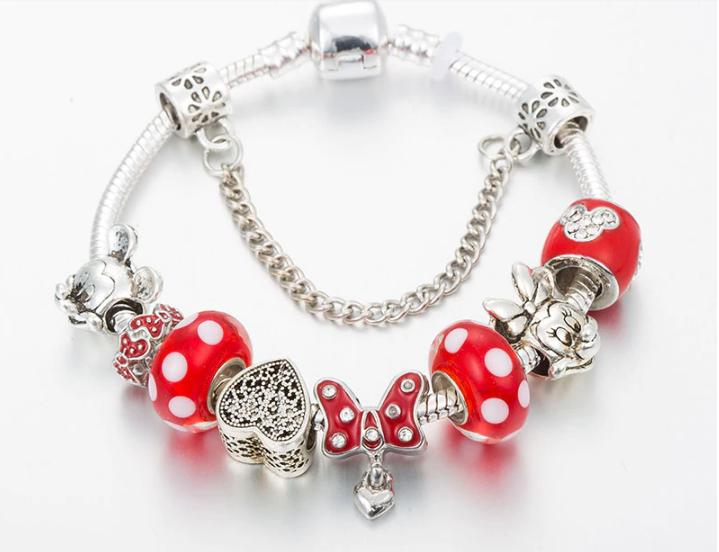 1367 Bransoletka srebrna modułowa charms koralki