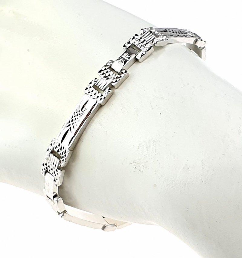 3618 Bransoletka srebrna pozłacana białym złotem