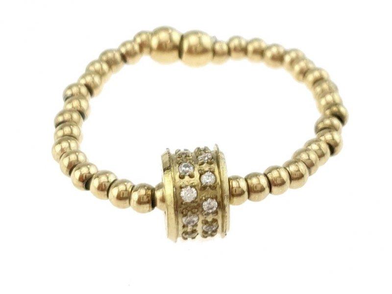 1315 Pierścionek złoty stal chirurgiczna na żyłce jubilerskiej