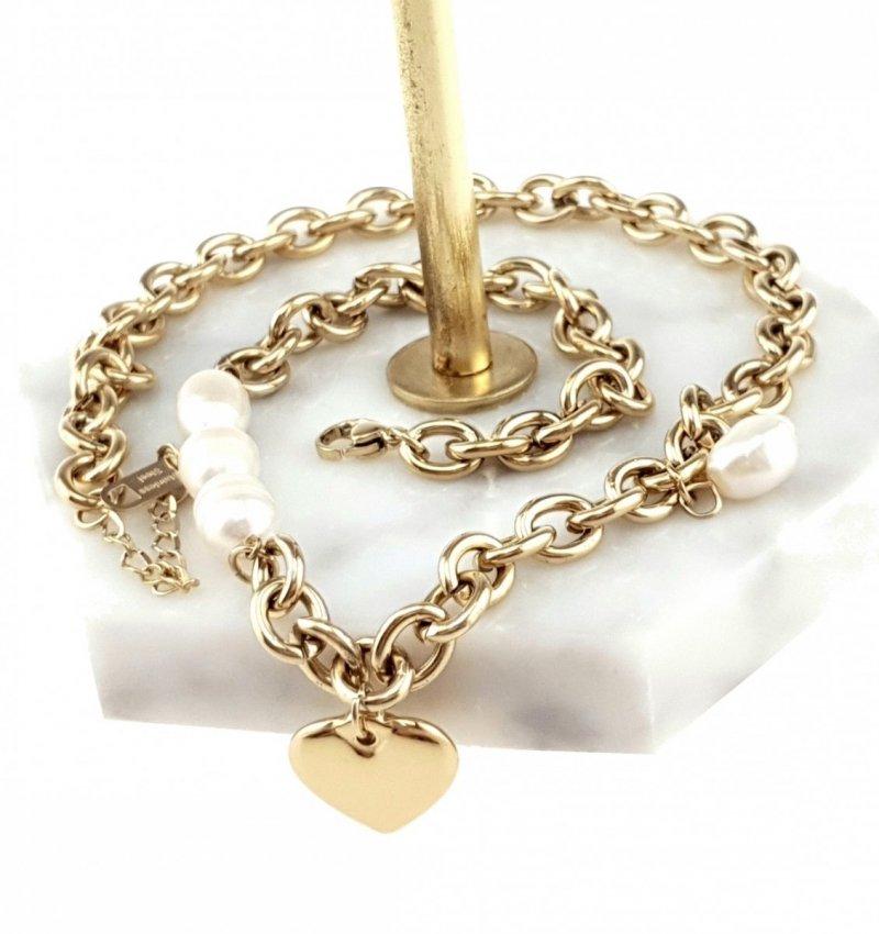 1392 Złoty łańcuszek celebrytka 47cm naszyjnik stal chirurgiczna