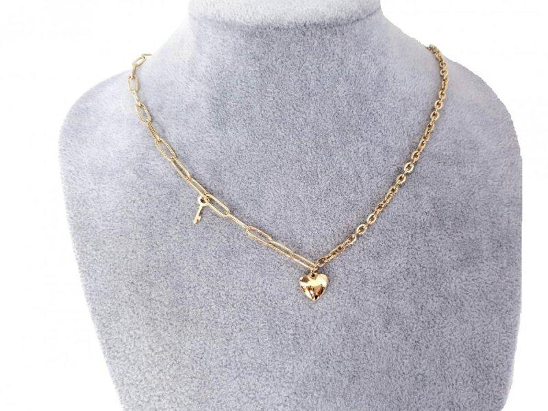 2696 Złoty łańcuszek celebrytka naszyjnik stal chirurgiczna
