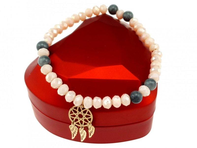 1266d Bransoletka kryształki kamień naturalny celebrytka stal chirurgiczna